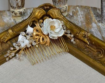 Bridal Hair Comb . White rose and crystal hair comb with vintage elements . Ready to Ship
