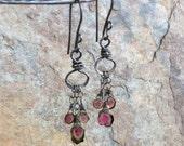 Watermelon TOURMALINE earrings, mini chandelier, handmade artisan earrings, AngryHairJewelry