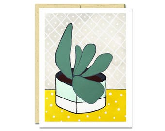 Dots Houseplant Notecard // Everyday Card // Cactus Card // Blank Notecard // Cute Card // NW Artist // Rachel Austin Card