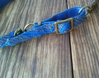 Vintage 1970s Belt Adjustable Blue Geometric Brass Buckle 26 28 Waist 2015325