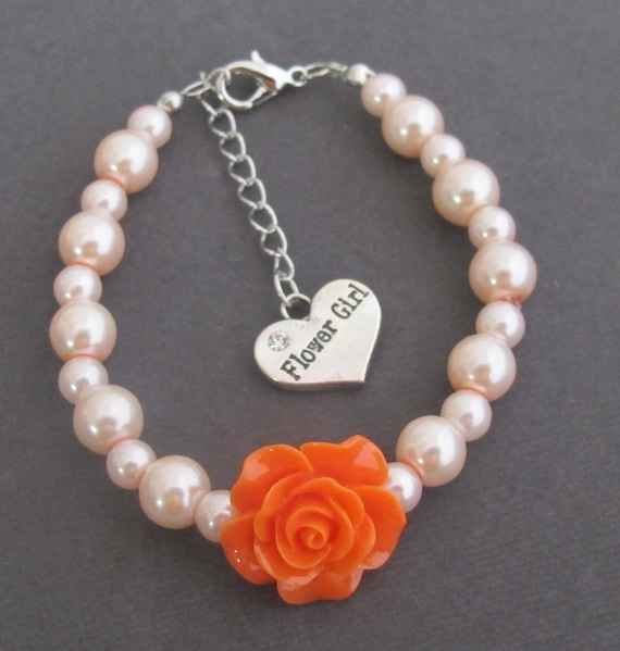 Flower Girl Bracelet, Flower Girl Charm, Orange Rose Flower Kids Bracelet, Rose Flower Children Jewelry, Ask Flower Girl, Free Shipping USA