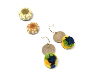 Tiny colorful yellow blue and green PomPom Earrings