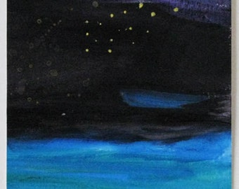 Night Sky, Original painting, Acrylic on watercolor paper, landscape, postcard size