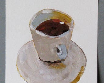 Cup of Coffee,  original painting, acrylic on paper