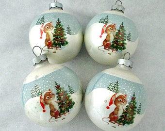 Mice with Christmas Tree Glass Ornament - Set of 4 Christmas Ball Ornaments - Camp Lodge Nature Wildlife Christmas Decor