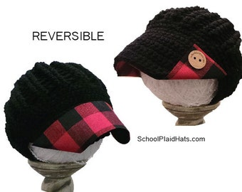 Buffalo check plaid hat - reversible - red buffalo plaid fabric brim hat wholesale hats girlfriend gift for her teen gift winter hat