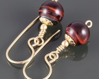 Red Tiger Eye Earrings. Gold Filled Ear Wires. Mahogany Red Earrings. Goldfill Earrings. Small Drop Earrings. Gift for Her. f16e225