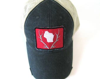 Distressed Snapback Trucker Hat - Wisconsin Patched Wisconsin Antler on Washed Black Hat