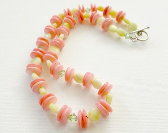 Cute Pink, Yellow, and Green Beaded Necklace
