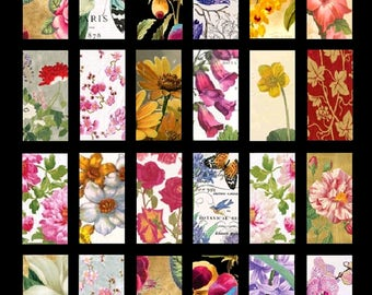 Fabulous Flowers No. 2 - 1x2 - Digital Collage Sheet - Instant Download