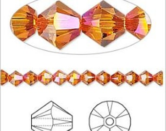 Swarovski Astral Pink Faceted Bicone Crystals 4mm 24 pcs