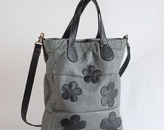 Grey leather bag with flowers, upcycled leather, zipper top