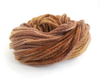 Bulky merino chainette wool, brown chunky yarn, Perran Yarns Sweet Chestnut crochet variegated skein hank, free knitting pattern