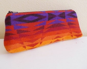 Red Tribal Geometric Wool Long Zippered Pouch great for makeup or pencils