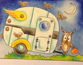 A Trip Vintage Trailer and Owl Original Watercolor Painting