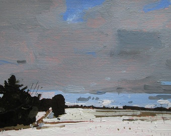 Field Walk, Original Winter Landscape Painting on Paper, Stooshinoff