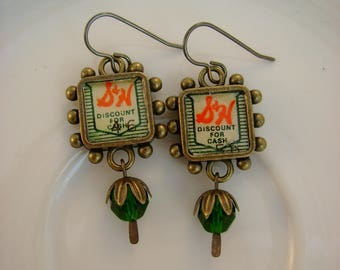 Trading Up - Vintage S&H Green Stamps Bezels Green Glass Beads Recycled Repurposed Jewelry Earrings