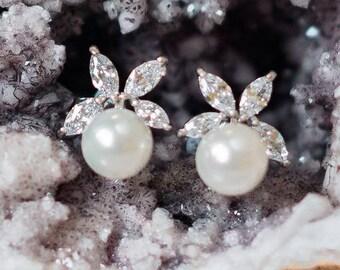 Vintage Style Pearl & Crystal Stud Earrings, Mary