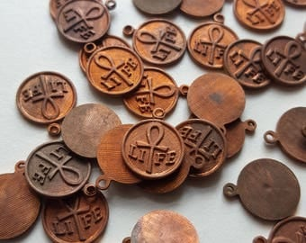 Vintage copper brass ankh life charms