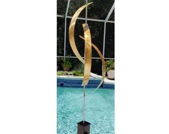 NEW! Large Gold Abstract Metal Sculpture, Modern Metal Outdoor Poolside Art, Contemporary Outdoor - Gold Centinal Art by Jon Allen