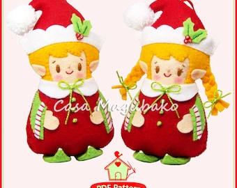 PDF Felt Pattern - Elf Ornament Sewing Pattern - Christmas Decoration Felt Pattern - Felt Elf Boy & Elf Girl - DIY - Instant Download