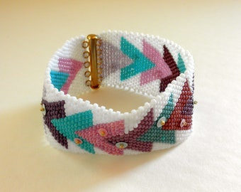 Beaded Cuff Bracelet Peyote Stitch Embellished Peyote Stitch Bracelet