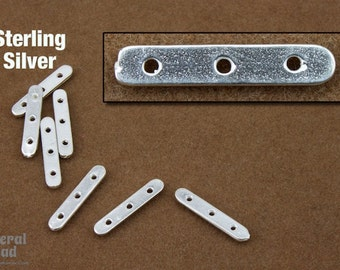 16mm Sterling Silver Three Hole Spacer Bar (24 Pcs) #BSB052