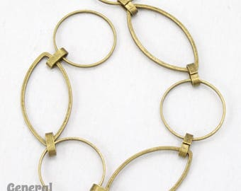 Antique Brass 23mm x 12mm Oval and 14.8mm Round Link Chain #CC235