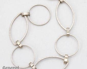 Antique Silver 23mm x 12mm Oval and 14.8mm Round Link Chain #CC235
