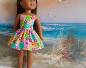 """SALE Pink Mod Floral Bright Strapless Dress Fits 14.5"""" Dolls Like Wellie Wishers and H4H"""