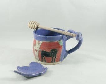 Mother's Day Gift Pottery, Purple Tea Mug with Horse, Gift for Her, Espresso Cup, Handmade Coffee Cup, ceramic teacup, holds 10 ounces 788