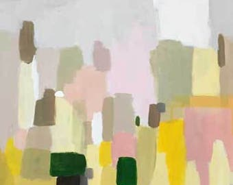abstract art abstract landscape pale yellow lemon yellow framed art original painting pamela munger