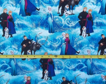 Disney FROZEN Character Scenic BLUE Cotton Fabric Springs Creative 2014 Bty 43/44 Free Ship USA