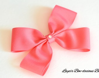 Coral Rose Double Bow Tie Hair Bow - 4 sizes - coral hair bow - small, medium, large, extra large - baby bows - toddler bows - no slip bows