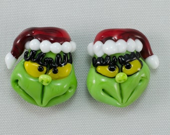 Two Mr. Grinch Who Stole Christmas Sculptural Glass Art Focal Beads DITS Lampwork by Annette Nilan