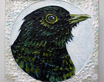 Green Bird ORIGINAL Acrylic Painting Small Art