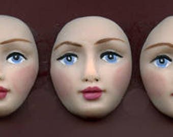 Polymer Clay Lot of 3 Detailed Faces Undrilled  DFCB 4