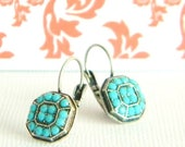 SALE Antique Silver Turquoise Swarovski Victorian Style Lever back Earrings
