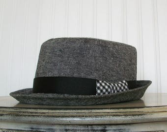 Fedora Hat in Black and White Linen - Womens Hats - Summer Hat - M