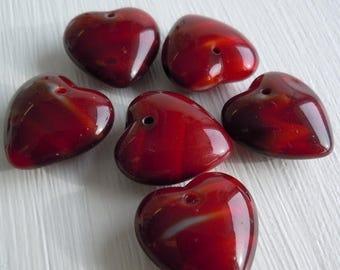 25% OFF Czech Glass Heart Beads 16mm Red Striped - 6 Beads (G - 61)