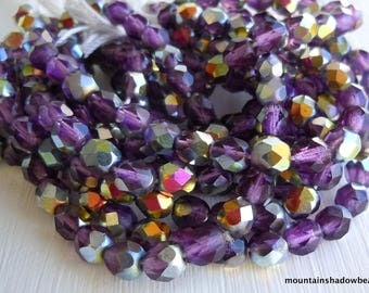 AMETHYST VITRAIL - Czech Glass Bead 6mm Faceted Round Bead  - 25 (G - 453)