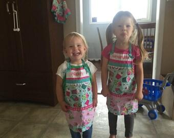Girls Cupcake Aprons - Monogrammed Girls Aprons - Childrens Aprons - Cupcake Girl Apron - Pink Cupcake Apron - Annies Attic Aprons