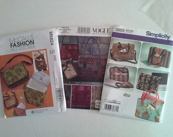 Set of three PURSE patterns -  1 McCall's  1 Vogue and 1 Simplicity