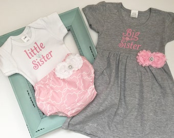 Big Sister Little Sister OUTFITS .. Shabby chic Pink and grey -sister Set..new baby , baby shower