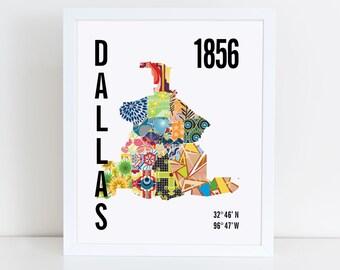 Dallas City Map Print