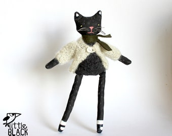 Hand Painted, Black Cloth Doll, Prim Style, Gift For Doll Collectors, Shelf Display, Gift For Him, Gift For Cat Lover