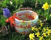 RESERVED for Carol   TEXTILE art BASKET custom order Easter Bucket Number Two