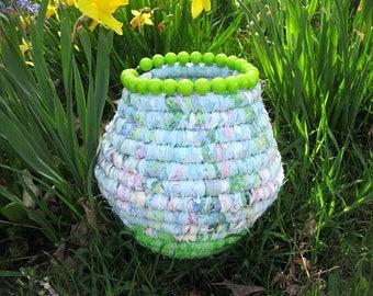 AMBROSIA   hand coiled textile art  FABRIC basket Vase