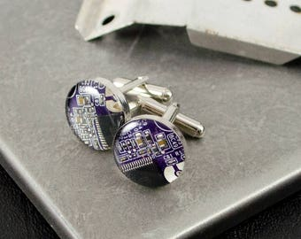 Circuit Board Cufflinks Violet, Recycled Motherboard Jewelry, Geeky Wedding Accessories, Nerd Fathers Day Gift, Wearable Technology, Geekery