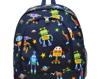Robot Backpack - Personalized Backpack - Monogrammed Backpack - Boy Backpack - Diaper Bag Backpack - Large Backpack - Includes Embroidery